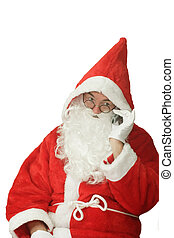 Santa with Cellphone - Male caucasian model of santa claus...