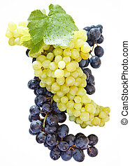 Wine concept over white background with bunches of a grapes...