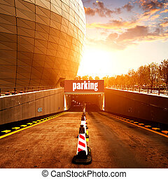 Car park entrance - entrance to underground car park at city...