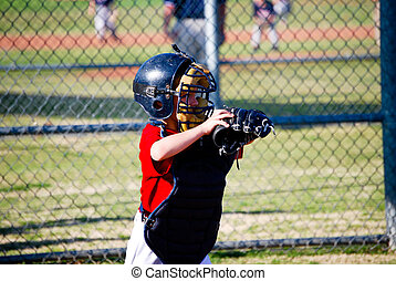 Youth baseball catcher - Little league baseball catcher.