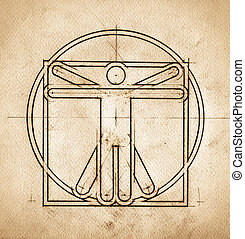 Technical Minimalistic Vitruvian Man - Grunge technical...