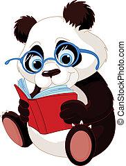 Cute Panda Education - Cute Panda with glasses reading a...