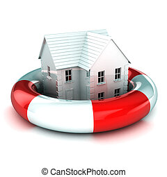 House in a Lifebuoy - A Colourful 3d Rendered House in a...
