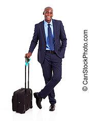 black business traveller full length portrait on white