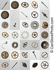 watch cogs - small watch cogs and other parts, looking down...