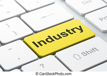 Finance concept: Industry on computer keyboard background -...