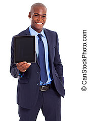 african businessman holding tablet
