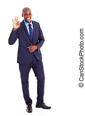 black businessman giving ok hand sign