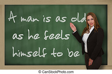 Successful, beautiful and confident woman showing A man is...