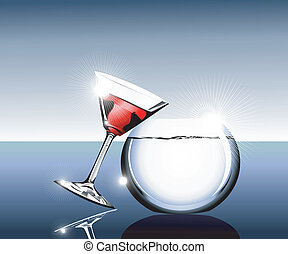 Cocktail glass and fishbowl - elegant Wine glass and...