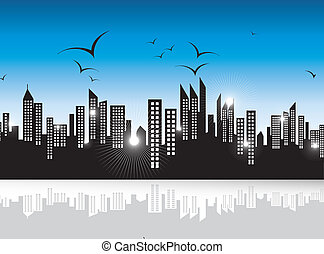 Urban skyscrapers landscape