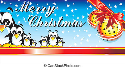 Merrry Christmas Penguin - Abstract Merry Christmas Card...