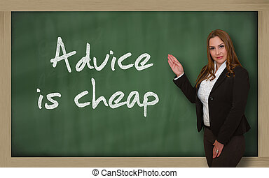 Teacher showing Advice is cheap on blackboard - Successful,...