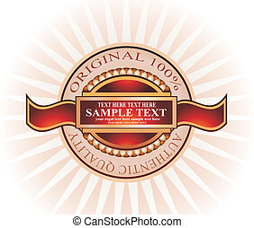 Vintage Emblem - Elegant Vintage Emblem with brown and...