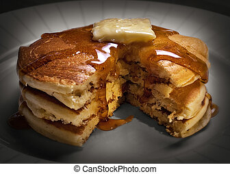 Pancakes with melting butter - Hot stack of pancakes with...