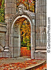 Garden of Memory 110 - Autumn leaves and stone arch