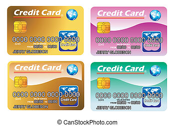 Four Credit cards with chip. fully editable - Colorful...