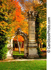 Garden of Memory 112 - Autumn leaves and stone arch