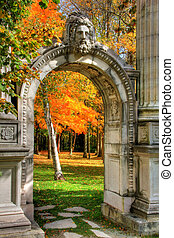 Garden of Memory 113 - Autumn leaves and stone arch