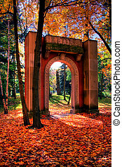 Garden of Memory 115 - Autumn leaves and stone arch