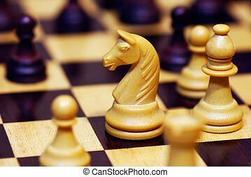 A game of chess shown in a shallow depth of field photograph