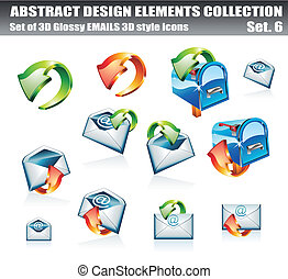 Email 3D Icon Set - 3D and 2D Email Design Elements...