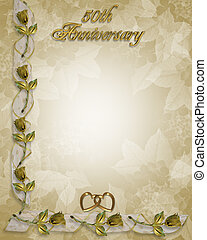 50th, aniversario, invitación, oro