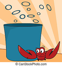 Lobster - Vector illustration of lobster scared of pot