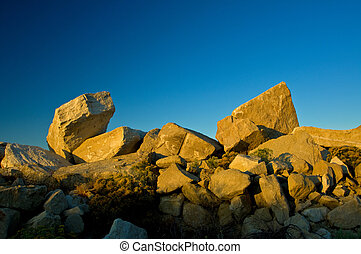 Sand stone quarry sunrise - First light of the day shines on...