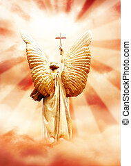 God\\\'s angel with the cross in the sky