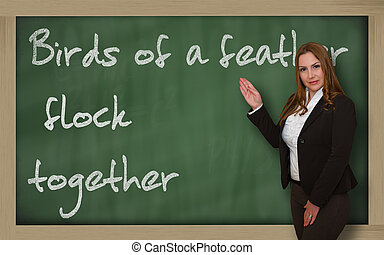 Teacher showing Birds of a feather flock together on...