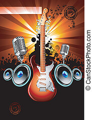 Electric Guitar Background - Music Event Background with a...