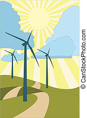 Path to renewable energy - EPS Vector Three wind turbines...