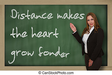 Successful, beautiful and confident woman showing Distance...
