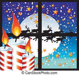 Christmas Candle Moon Light Window