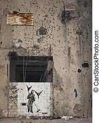 mural in beirut lebanon - mural and bullet holes in beirut...
