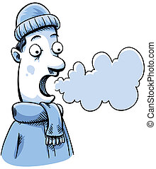 Visible Breath - A cartoon man in cold weather can see his...