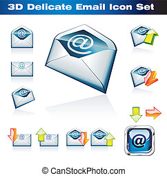 3D Emails Icon Set - Colorful 3D Emails Icon Set