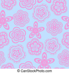 Seamless background pattern of pink lace flowers