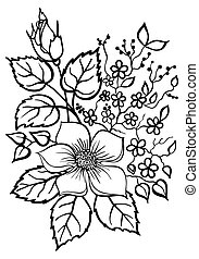 beautiful flower arrangement, a black outline on a white...