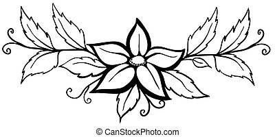 Beautiful black and white abstract flower. With leaves and...