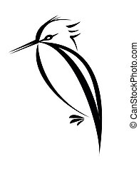 bird tattoo - bird silhouette isolated on white background
