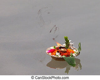 flowers on the ganges - flowers and candles on the ganges...