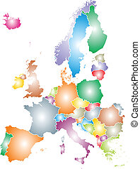 europe map - color europe map isolated on white background