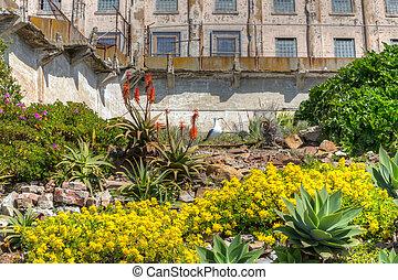 Prison Gardens at Alcatraz Island Prison, USA.