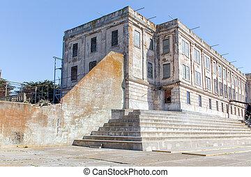 Cell Block A at Alcatraz Island Prison, USA,