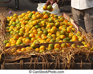 oranges selling on the streets of new delhi