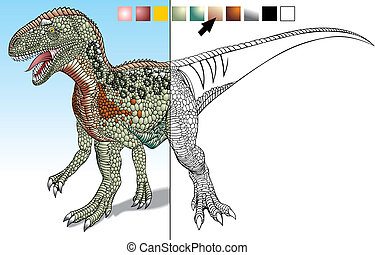 prehistoric dinosaur designed to complement the colors