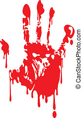 bloody hand - illustrated bloody hand isolated on white...