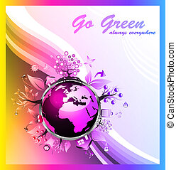 Environmental Green Background with Rainbow Colours -...